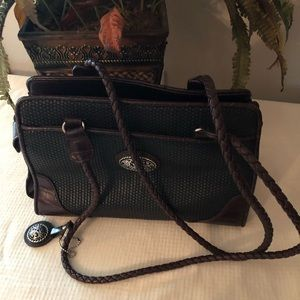 Black and brown Bueno shoulder bag silver decal